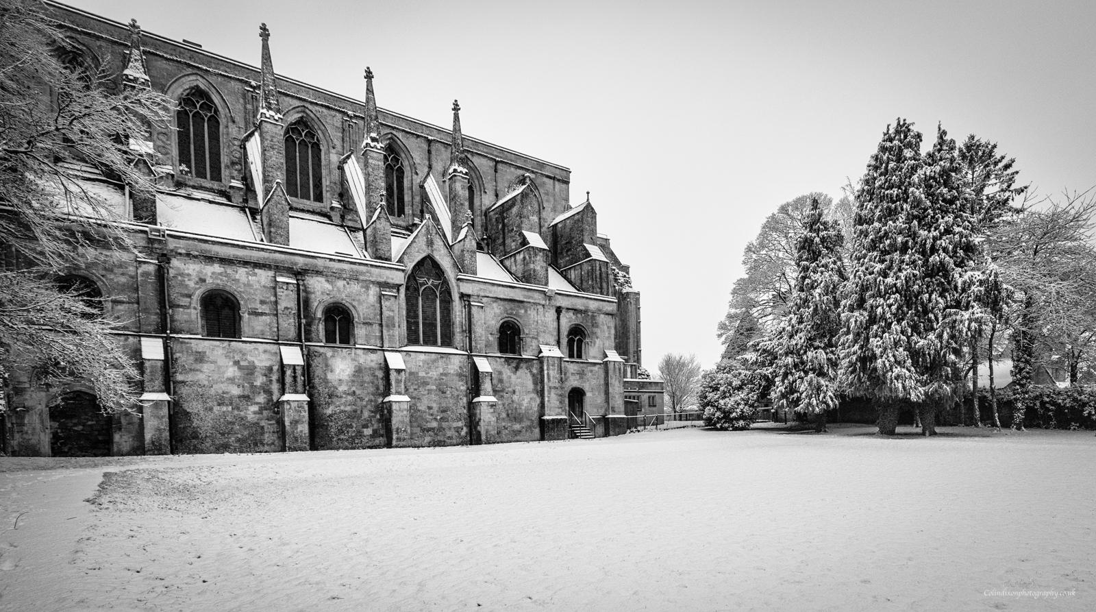Malmesbury Abbey in the snow